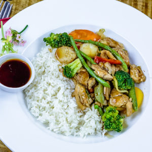 Chicken Stir Fry served with rice
